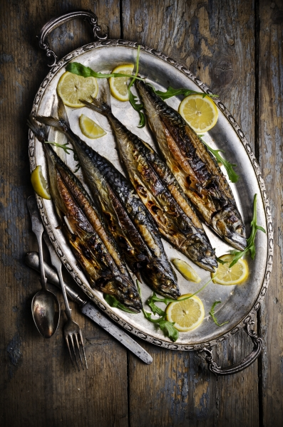 mackerels on silver plate